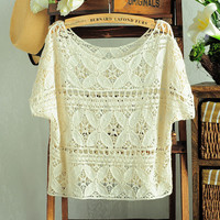 Hollow-out Lace Crochet Batwing Short Blouse