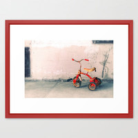 Childs Vintage Tricycle Framed Art Print by Wood-n-Images