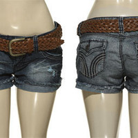 15DOLLARSTORE.COM - YMI Distressed &amp; Torn Denim Shorts W/ Braided Belt (Ocean Blue)