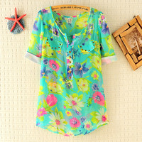 Cool Floral Cuffed Sleeve Chiffon Shirt With Rivet Pocket