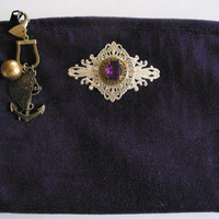Dark Purple Steampunk Pouch Bag with Amethyst Crystal by steamheat