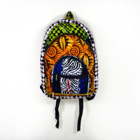 African Tribal Patchwork Batik Hippie School Backpack