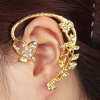 Heart on Vine Wrapping Ear Single Cuff | LilyFair Jewelry