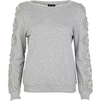 Grey embellished sleeve sweatshirt - sweaters / hoodies - t shirts / vests / sweats - women