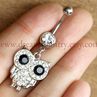 Silver owl Belly Button Ring
