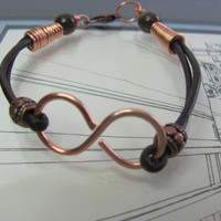 Unisex bracelet infinity copper brown leather by TerrysJewelryStop