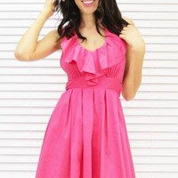 Dress Charm School Halter in Rose Pink