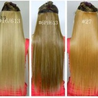 Amazon.com: Fashionable Kanekalon Long Straight Synthetic Full Head Clip in Hair Extensions: Beauty