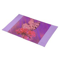 Flower and Butterfly in Pink and Purple Place Mat from Zazzle.com