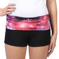 yoga short with a cosmic print fold over waistband - 1000049899 - debshops.com