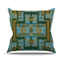 "Nika Martinez ""Golden Art Deco Green & Blue"" Throw Pillow 