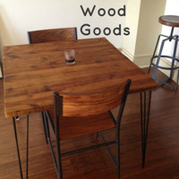 """Small CafeTable with reclaimed wood top and Hairpin legs. 24"""" L x 24"""" W x 30"""" tall, seats 2 people. 1.65"""" top"""