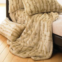 Wildcat Territory Lover Boy Luscious Fur Throw &amp; Pillow in Tawny - 10689 Set - Blankets &amp; Throws - Bed &amp; Bath