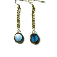 Window Earrings, Blue and Bronze, Gold Plated Chain with French Hooks