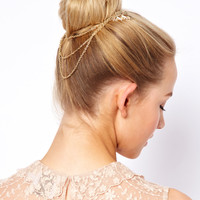 ASOS Leaf Hair Comb with Hanging Chain