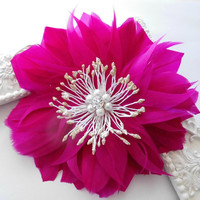 Hair Flower, Bridal Feather Hair Flower, Wedding Hair Accessory, Fuschia, Hot Pink, Pink, Feather Fascinator