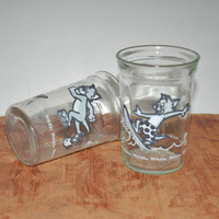 Vintage 1990's Welch's Tom and Jerry Jelly Jars Set of 2
