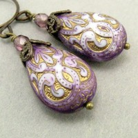 Purple and Gold Earrings with Brass  Cottage Style Shabby Chic Mothers Day Outdoor Wedding Garden