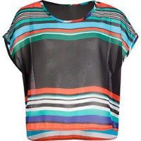 FULL TILT Sheer Stripe Girls Boxy Top