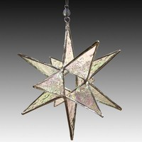Clear Iridescent Moravian Star-6 | L-A-Glass - Glass on ArtFire