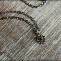 Tiny Daisy Necklace in Gunmetal