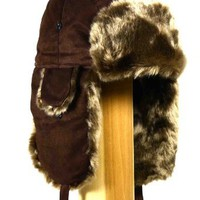 Amazon.com: W500 Brown Faux Suede Trooper Trapper Pilot aviator Hat: Clothing