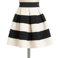 Stripe It Lucky Skirt in Black