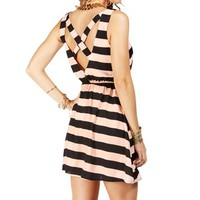 Peach/Black Stripe X Back Dress
