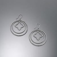Quatrefoil Mobile Earrings, Pave Diamonds