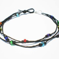 Amazon.com: Black Hemp Three String Multicolor Glass Beaded Anklet - Handmade: Jewelry