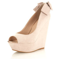 Winnie Blush Bow Back Wedge - Wedges  - Shoes  - Miss Selfridge US