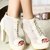 Beige Open toed High heeled Shoes from magisteriall