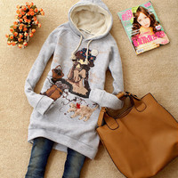 Womens Winter Sweater Coat Winter Xmas Long Sleeve Hoodies Cute Cartoon Girl 1h8