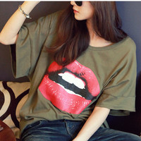 Oversized Sexy Lips Long T-shirt