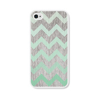 Mint Green Ombre Chevron iPhone 4 Case - Plastic iPhone 4 Cover -  Wood iPhone 4 Skin - Brown Woodgrain Cell Phone Case