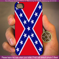 Rubber Confederate Rebel Flag - iPhone 4 / iPhone 4S / iPhone 5 / Samsung S2 / Samsung S3 / Samsung S4 Case Cover