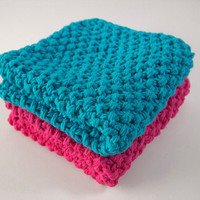 hand knit plushy cotton washcloth set in bright blue and hot pink