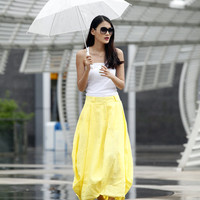 Romantic Pretty Linen Bud Long Maxi Skirt in Yellow - NC023