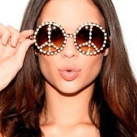 Missguided - Savita Embellished Peace Sign Sunglasses