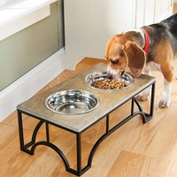 Raised Slate Pet Feeder With Stainless Steel Bowls - Plow & Hearth
