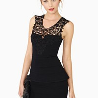 Crochet Peplum Dress - Black