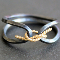 Knotted Ring - Sterling Silver Ring with Gold Tie - Obi Ring