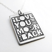 I love you to the moon and back necklace silver by lulubugjewelry