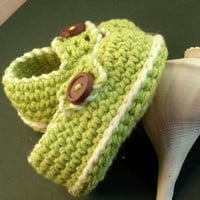 Crochet Pattern Baby Booties Button Loafers PDF 2 | Genevive - Crochet on ArtFire