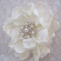 Ivory Satin  and Lace Wedding Flower Hair Clip Hair Accessories Bride Mother of the Bride  Bridesmaids Prom with Pearl and Rhinestone Accent