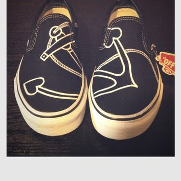Hand Painted Shoes  Hearts & Anchors Vans by SpadesandSparrows