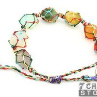 Chakra Netted Tumble Bracelet with Velvet Pouches