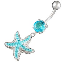 "14Gauge (1.6mm), 3/8"" Inch (10mm) starfish Aquamarine Swarovski Crystal Ferido dangle belly dangling navel button ring dangly bar AFYH - Pie"