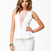 V-Mesh Peplum Dress, Club L