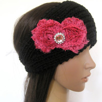 Black Knit Ear Warmer Headband Head Wrap with Bright Pink Polka Dot Shabby Frayed Chiffon Flowers and Pink Rhinestone Accent